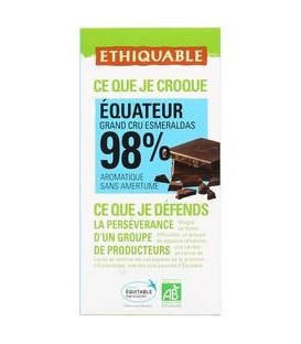 CHOCOLATE 98% CACAO 100gr. ethiquable