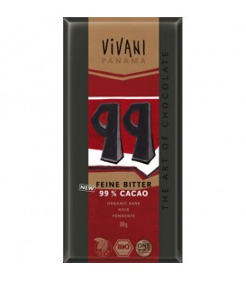 CHOCOLATE 99% CACAO 80gr. vivani
